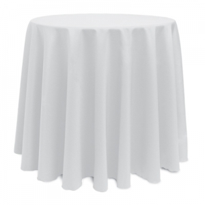 "WHITE POLYESTER TABLECLOTH 90"" ROUND"