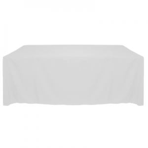 "WHITE POLYESTER TABLECLOTH 90X132"" ROUNDED CORNERS"