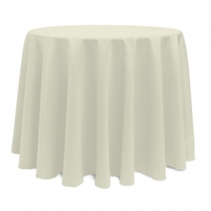 "IVORY POLYESTER TABLECLOTH 108"" ROUND"