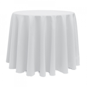"WHITE POLYESTER TABLECLOTH 108"" ROUND"
