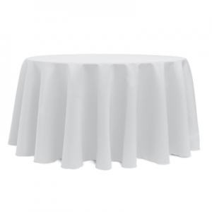 "WHITE POLYESTER TABLECLOTH 120"" ROUND"