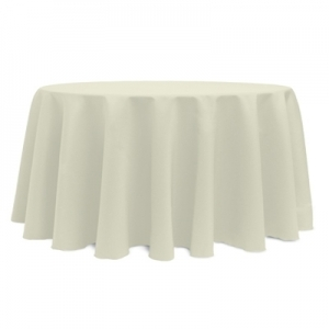 "IVORY POLYESTER TABLECLOTH 132"" ROUND"