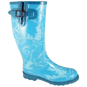Smoky Mountain Boots Running Horses Rubber Boot Turquoise