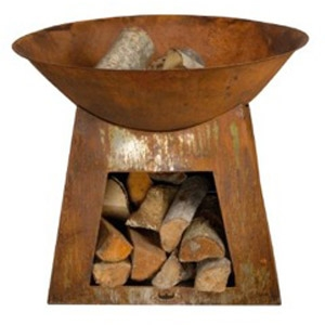 Esschert Design Firebowl with Wood Storage
