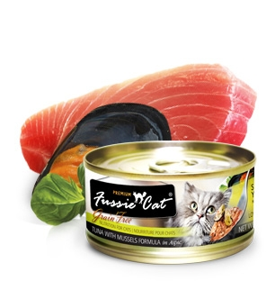 Fussie Cat Premium Tuna with Mussels in Aspic Canned Cat Food