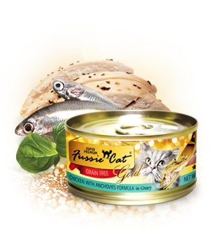 Fussie Cat Gold Chicken With Anchovies in Gravy Canned Cat Food