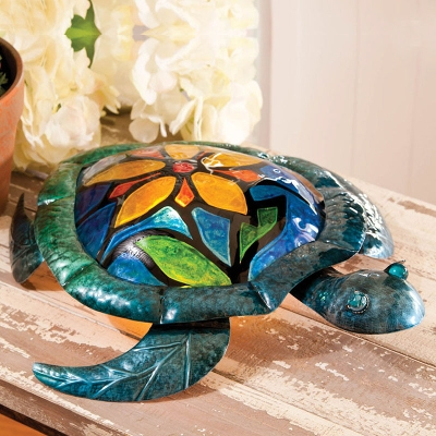 Cape Craftsmen Turtle with Flower Metal & Glass Table Lamp