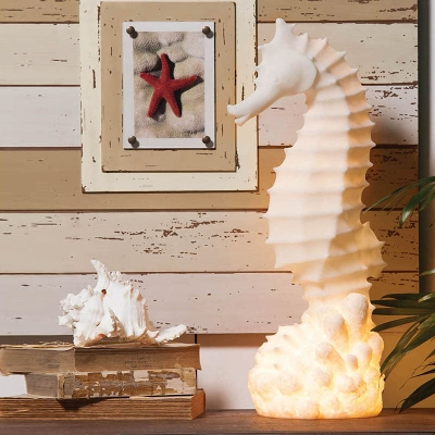 Cape Craftsmen White Embossed Seahorse Lamp
