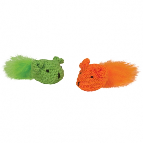 Chomper Brite Knit Mouse With Feather Tail 2Pc Assorted