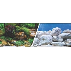Marina Double Sided Aquarium Background - Aqua Garden/Bright Stone
