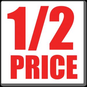 1/2 Price Sundays!