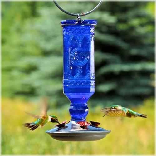 Perky-Pet® Cobalt Blue Antique Glass Bottle Hummingbird Feeder