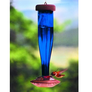 Brilliant Blue Faceted Glass Hummingbird Feeder