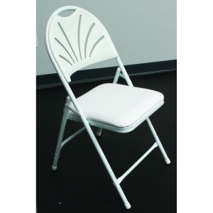 White Vinyl Padded Fanback Chair