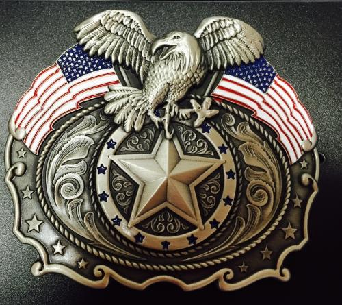 Patriotic American Flag & Eagle Belt Buckle