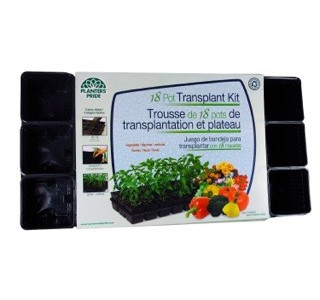 Planters Pride Transplanter Tray and Pots, 3.5in, 18 Pots