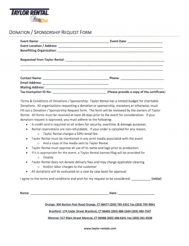 Sponsorship Request Form Donation Request Form Sample Donation