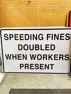 Speeding Fines Doubled Traffic Sign