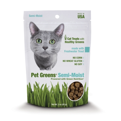 Pet Greens: Semi-Moist Cat Grass with Freshwater Trout Cat Treats, 3 oz.