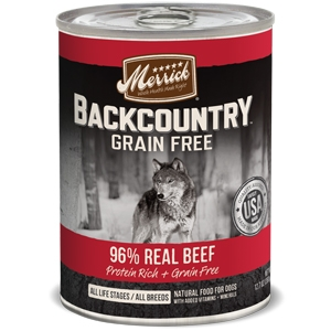 Merrick BackCountry Adult Dog Canned Food 96% Real Beef