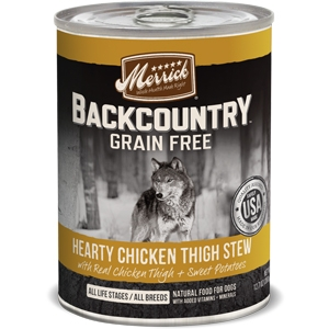 Merrick BackCountry Adult Dog Canned Food Hearty Chicken Thigh Stew