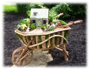 Decorative River Root Wheelbarrow