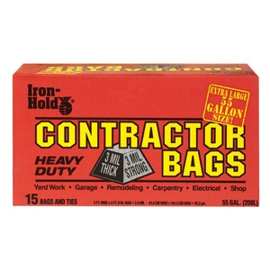 Iron-Hold® 55 Gal 15-Count Contractor Trash Bags