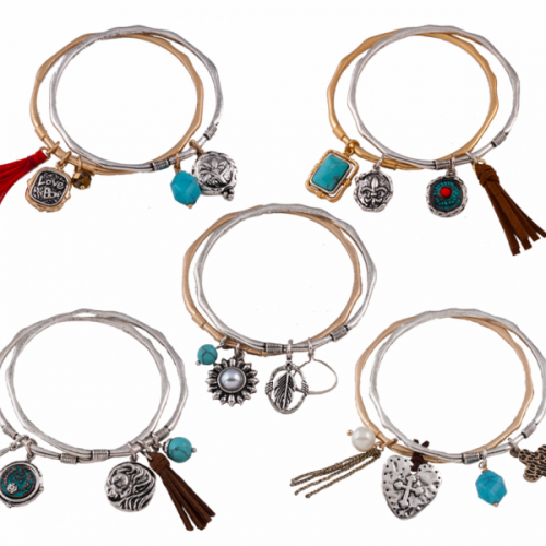 Pacific Silver Twice as Charming Bangle Sets