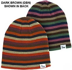 Ladies Striped Beanie Reversible Dark Brown