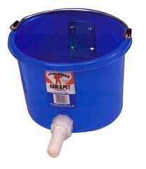 8 QT. Blue Plastic Calf Nursing Pail with Nipple Assembly