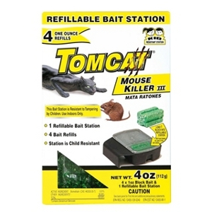 Tomcat Mouse Killer III Bait Station with Refills 4 Pack