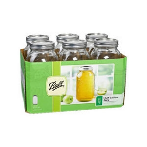 Ball Wide Mouth Mason Jars with Lids 1/2gal 6 Pack