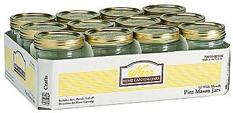 Kerr Wide Mouth Mason Jars - Pint - 12PK