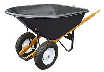 Poly 2-Tire Wheelbarrow with Wood Handles 8 CU.FT.