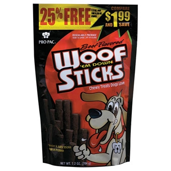 Pro Pac Woof 'Em Down Sticks Chewy Dog Treat Beef 7.2 oz.