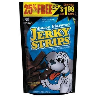 Pro Pac Jerky Strips Chewy Dog Treat Bacon 7.2 oz.