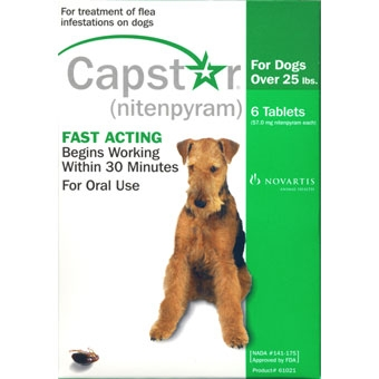 Capstar Flea Treatment for Dogs & Cats over 25lbs - 6 Tablets