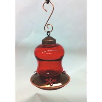 Hummingbird Feeder Brushed Copper Ruby Glass