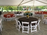 Underneath 40' wide frame tent