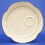 Snack Set (Plate & Cup), Ivory w/Double Gold Band, 9""