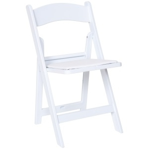 Chair- White Padded Folding