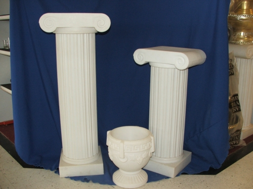 Thirty and Forty Inch White Pedestals and Urn