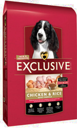 Exclusive Chicken and Brown Rice Adult Dog Formula in 5, 15  and 30 pound bags