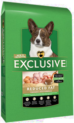 Exclusive Reduced Fat Chicken and Rice Adult Dog Formula in 18 and 30 pound bags
