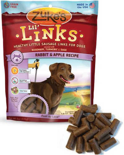 Zuke's Lil' Links Healthy Treats for Dogs, Rabbit and Apple Recipe, 6 ounce pouch