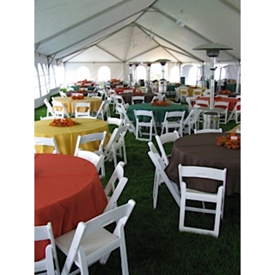 Underneath 40' wide tent