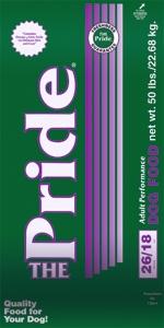 Pride 26/18 Adult Performance Formula Dog Food, 50 pound bag