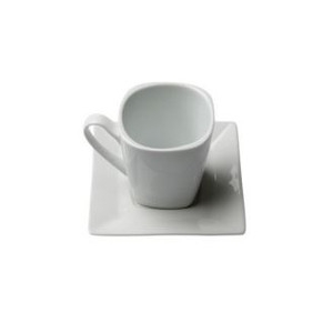Square White Cup & Saucer