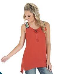 Wrangler® Premium Sleeveless Solid Tunic with Beading on Shoulder