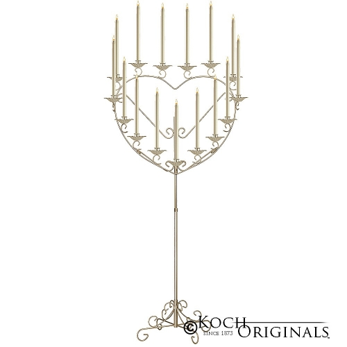 'Quinceañera' 15 or 16 Light Heart Candelabra - Brass